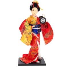 Кукла декоративная Гейша в красно-желтом кимоно