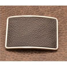 Пряжка для ремня с кожаной вставкой. Коллекция G.Design (черный, флотер; нат. кожа)