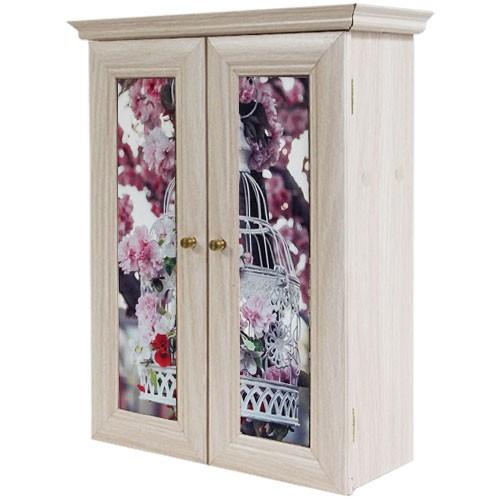 Декоративный настенный шкафчик Яблоня в цвету, клетка беж