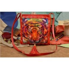 Женская кожаная сумка-планшет Elole Design Яркий тигр