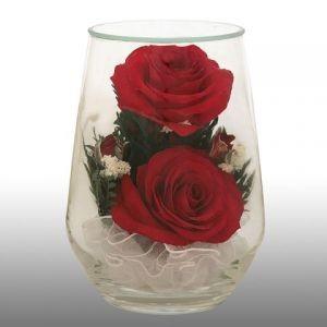Цветы в стекле. Натуральные розы. Размер:8.5-8.0-12.0см.