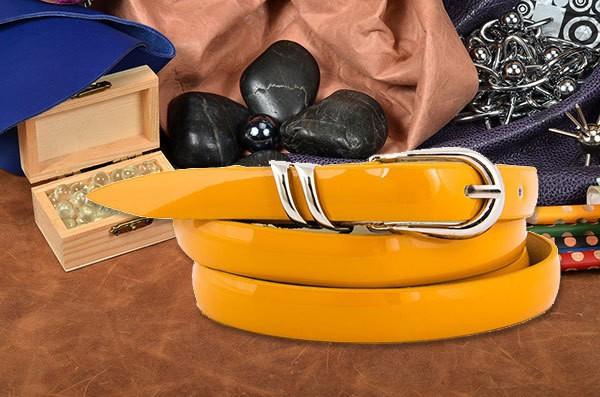 Желтый ремень коллеции G.Ferretti из натуральной кожи
