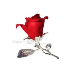 Фарфоровая статуэтка Красная роза с посеребрением