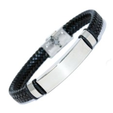Черный кожаный плетёный браслет