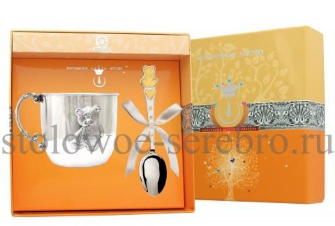 Детский серебряный набор Мишка с сердечками №31
