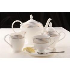 Фарфоровый чайный сервиз на 15 предметов Платина