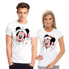 Парные футболки Микки и Минни в новогодних колпаках
