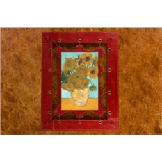 Картина из кожи Подсолнухи Ван Гог