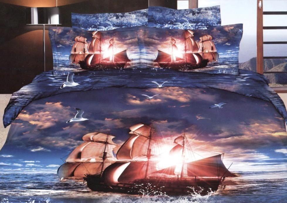 Постельное белье из сатина с рисунком 3D ЕВРО