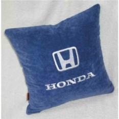Синяя с серебряной вышивкой подушка Honda