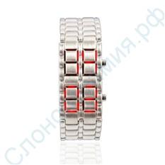 Диодные LED часы-браслет Самурай, серебристые/красные