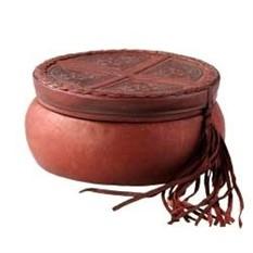 Коричневая шкатулка из натуральной кожи