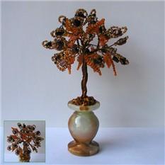 Дерево счастья из родонита в вазочке из оникса