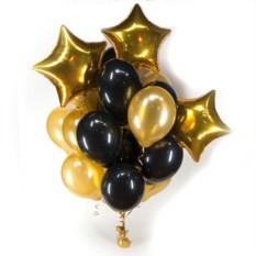 Букет черно-золотых шаров со звездами