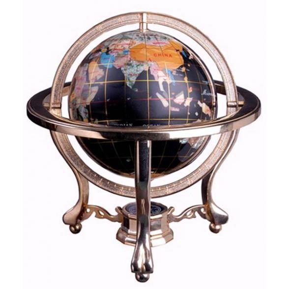 Каменный глобус (черный), 15 см