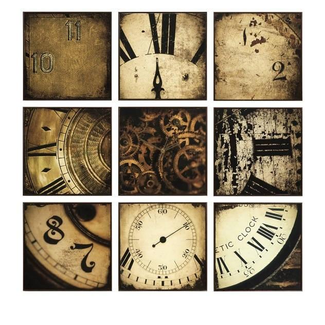 Настенный декор, панно-трансформер с часами Time (9 шт.)