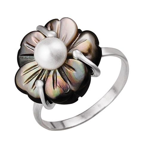 Кольцо из серебра с цветком из перламутра и жемчужиной