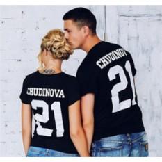Черные футболки для двоих Фамилия и номер