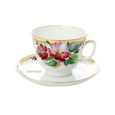 Чайная чашка с блюдцем, форма Подарочная, рисунок Надежда