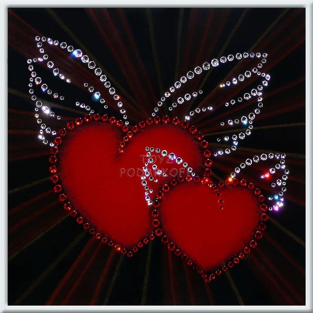 Картина с кристаллами Окрыленные сердца