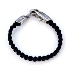 Черный браслет с головой змеи Urobos