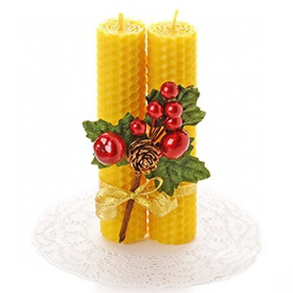 Новогодний набор свечей  из пчелиного воска Волшебный