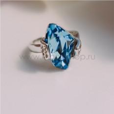 Кольцо «Айсберг» с голубым кристаллом Сваровски