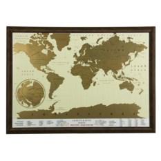 Скретч-карта мира в рамке орехового цвета