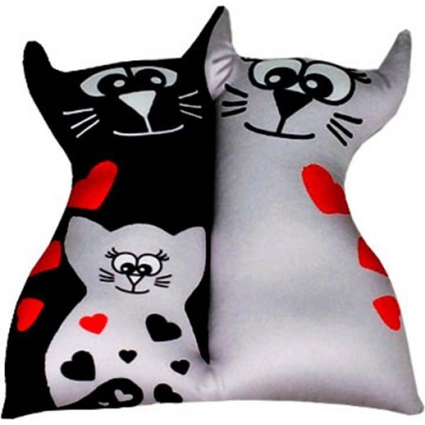 Игрушка антистрессовая Влюбленные кисы с котенком серые