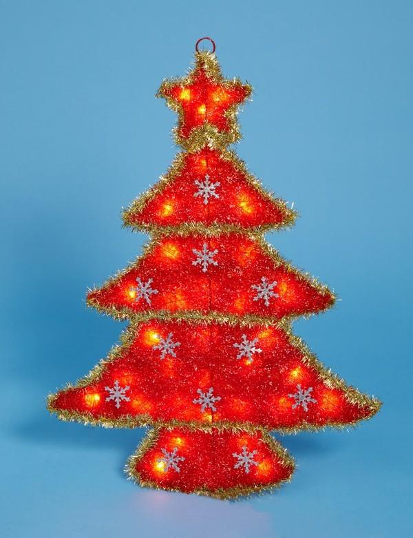 Панно Красная елочка с прозрачными огнями