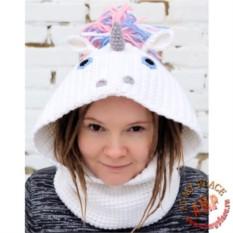 Вязаная шапка-снуд Единорог