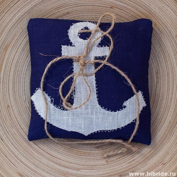 Подушечка для колец на свадьбу Морская