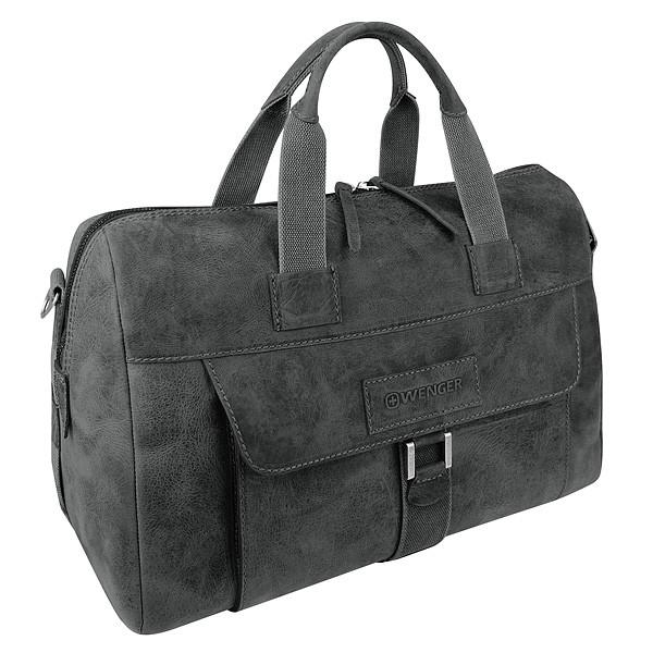 Кожанная сумка дорожная WENGER ARIZONA, черная