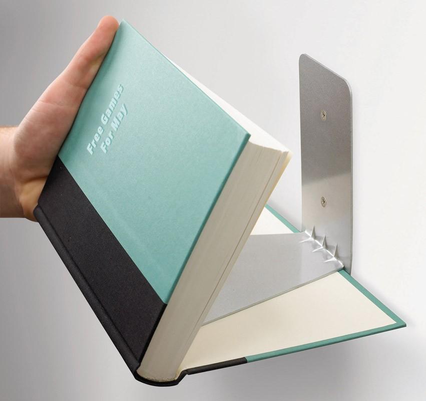 Большая книжная полка Conceal (цвет: сталь)
