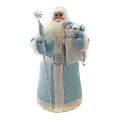 Дед мороз в голубой шубе с посохом и мешком