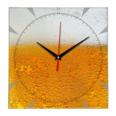 Стеклянные настенные часы Пиво с пеной