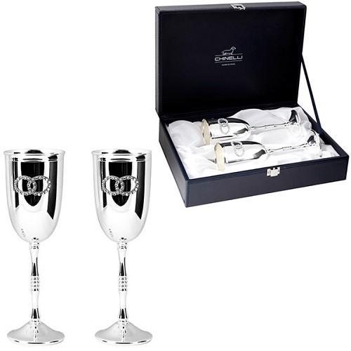 Набор стальных бокалов для шампанского Два кольца, серебро