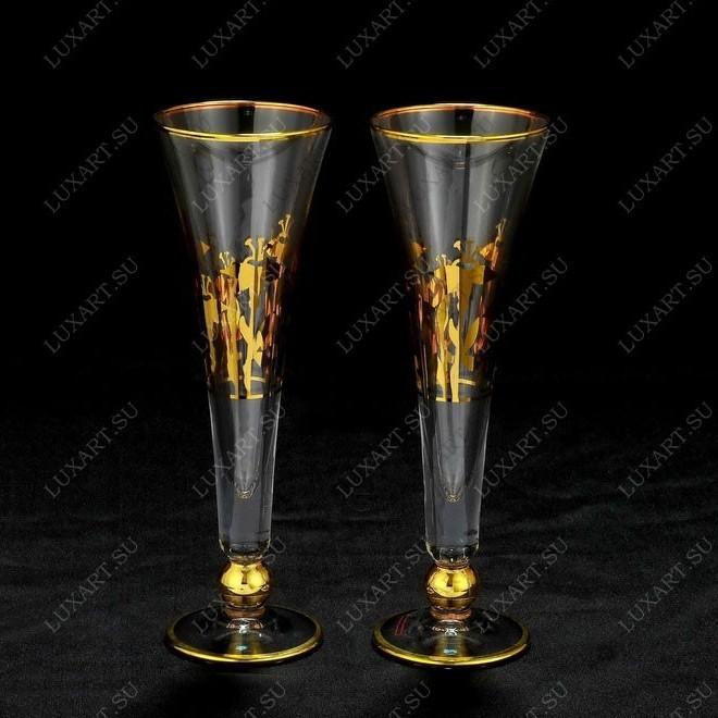 Свадебные бокалы ручной работы с золотом Cristal Robert Line
