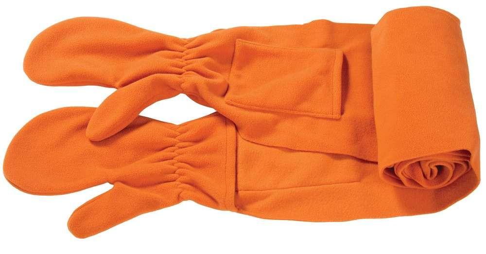 Оранжевый шарф с варежками