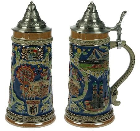 Пивная кружка коллекционная с крышкой Мюнхен, 21см, 850мл