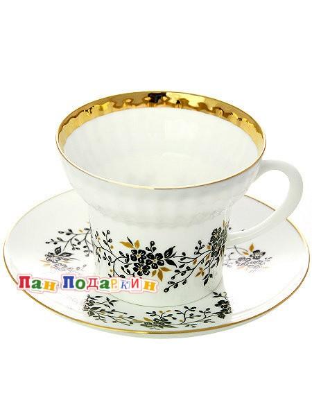 Чайная чашка с блюдцем Тонкие веточки