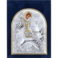 Маленькая серебряная икона Георгий Победоносец