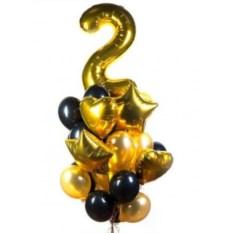 Букет шаров с цифрой Золотые годы