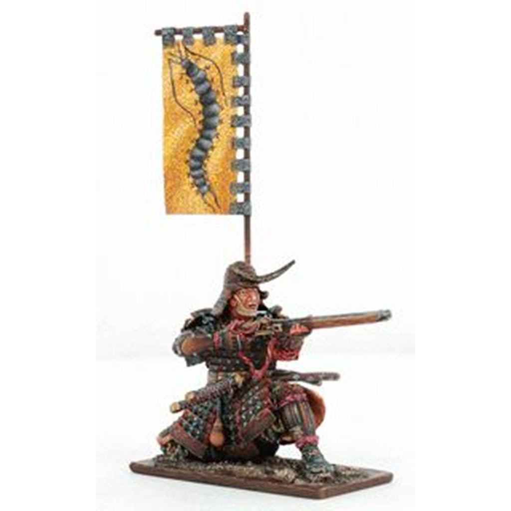 Оловянный солдатик: самурай с желтым знаменем