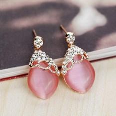 Серьги с розовым опалом и кристаллами Сваровски Нега