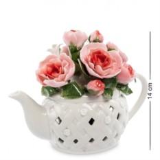 Фарфоровая музыкальная композиция Чайник с цветами