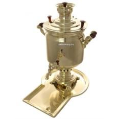 Набор с угольным самоваром на 7 литров Цилиндр (золото)