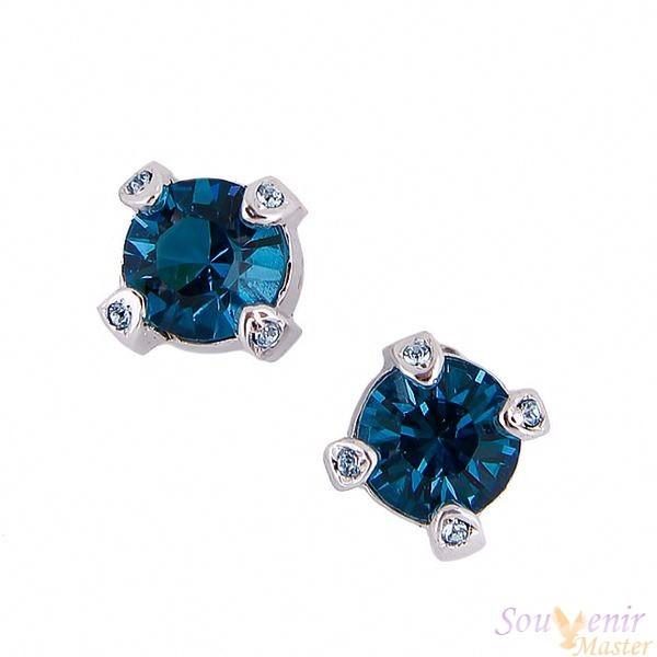 Серегь-гвоздики с кристаллами Swarovski Уединение, большие