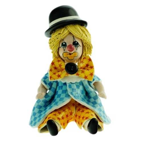 Статуэтка из фарфора Клоун в жёлто-голубом ZamPiva