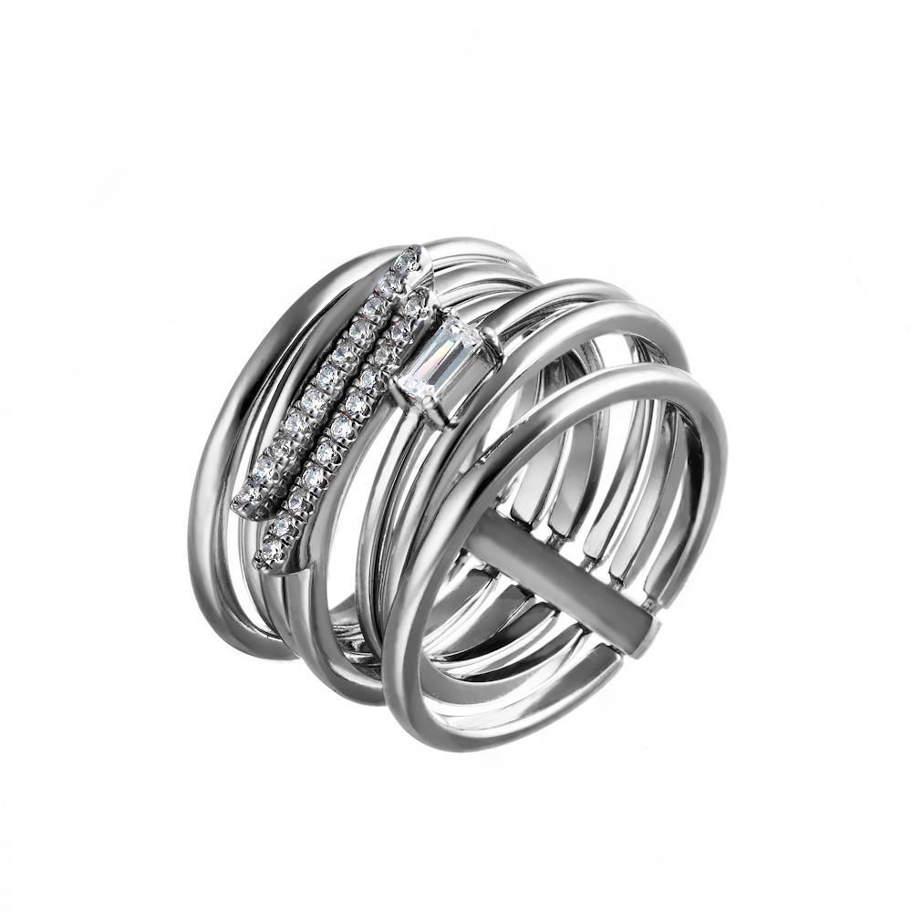 Кольцо с фианитами, из семи подвижных элементов «Неделька»